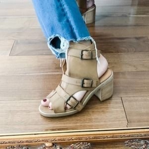 Ecote | Ankle Bootie Sandals Buckle Tan Open Toe 8